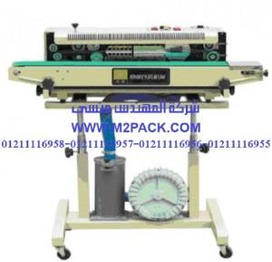 ماكينة لحام و تصنيع أكياس متعددة الطبقات راسية مع طباعة تاريخ إنتاج بسير ناقل طراز موديل m2pack com 306